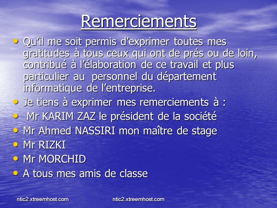 ntic2.xtreemhost.com Remerciements Quil me soit permis dexprimer toutes mes gratitudes à tous ceux qui ont de prés ou de loin, contribué à lélaboratio