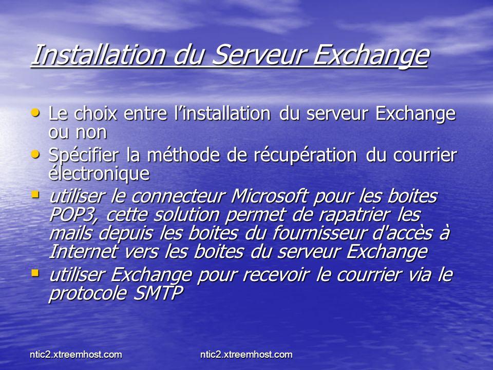 ntic2.xtreemhost.com Installation du Serveur Exchange Le choix entre linstallation du serveur Exchange ou non Le choix entre linstallation du serveur