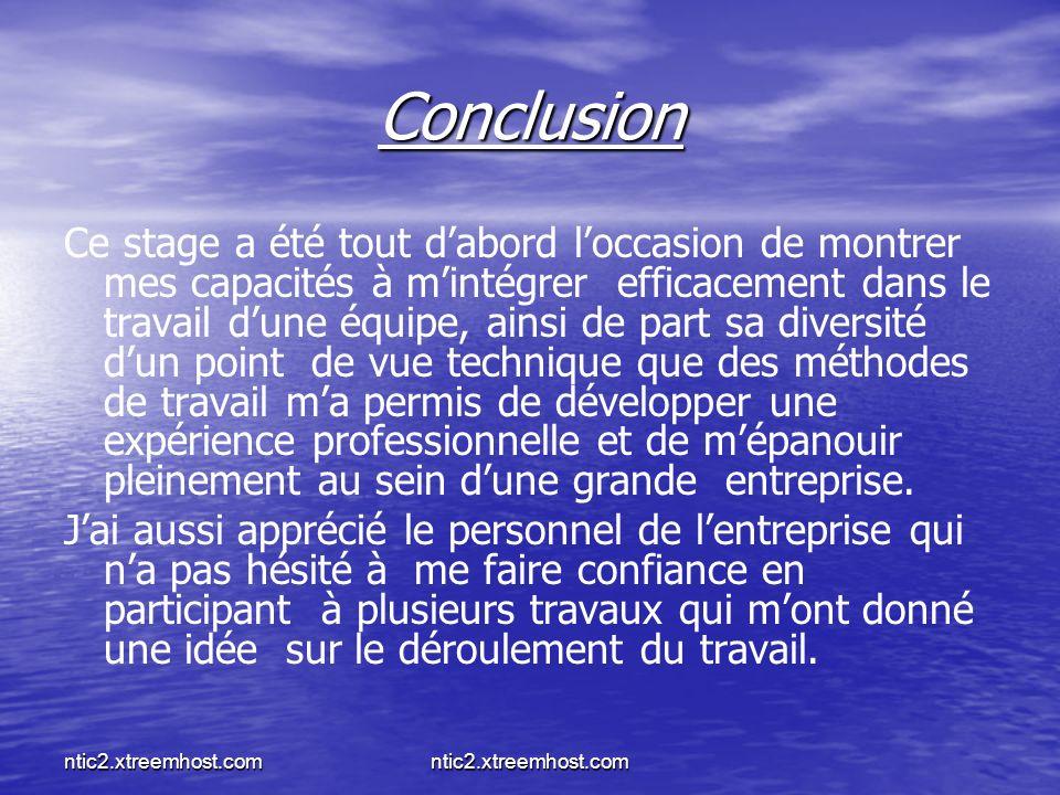 ntic2.xtreemhost.com Conclusion Ce stage a été tout dabord loccasion de montrer mes capacités à mintégrer efficacement dans le travail dune équipe, ainsi de part sa diversité dun point de vue technique que des méthodes de travail ma permis de développer une expérience professionnelle et de mépanouir pleinement au sein dune grande entreprise.