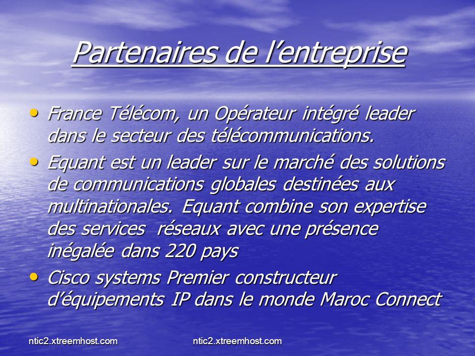 ntic2.xtreemhost.com Partenaires de lentreprise France Télécom, un Opérateur intégré leader dans le secteur des télécommunications. France Télécom, un