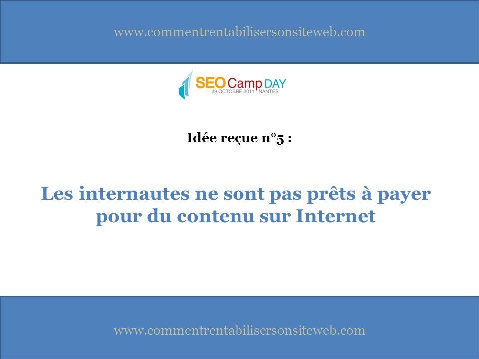 www.commentrentabilisersonsiteweb.com Les internautes ne sont pas prêts à payer pour du contenu sur Internet Idée reçue n°5 :