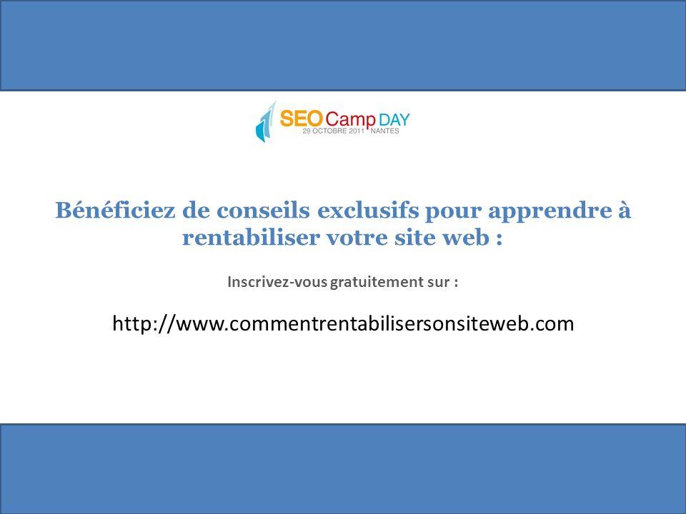 http://www.commentrentabilisersonsiteweb.com Inscrivez-vous gratuitement sur : Bénéficiez de conseils exclusifs pour apprendre à rentabiliser votre site web :