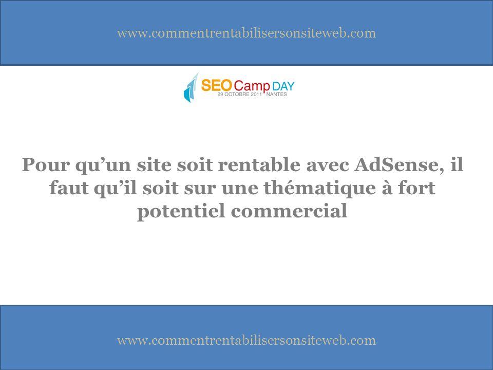 www.commentrentabilisersonsiteweb.com Pour quun site soit rentable avec AdSense, il faut quil soit sur une thématique à fort potentiel commercial