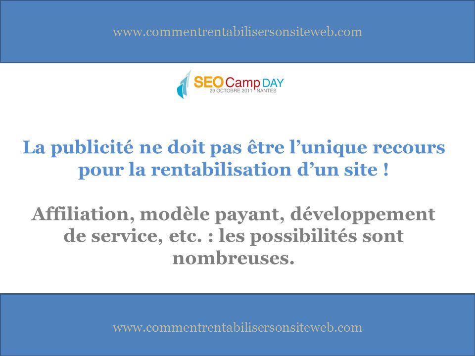 www.commentrentabilisersonsiteweb.com La publicité ne doit pas être lunique recours pour la rentabilisation dun site .