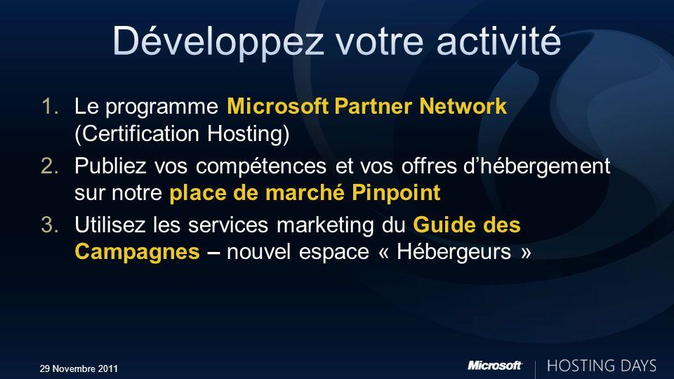 29 Novembre 2011 1.Le programme Microsoft Partner Network (Certification Hosting) 2.Publiez vos compétences et vos offres dhébergement sur notre place