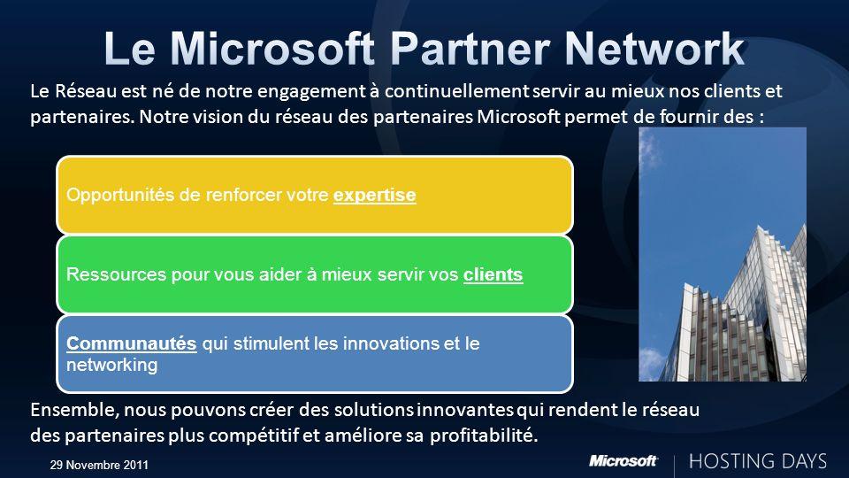 29 Novembre 2011 Opportunités de renforcer votre expertise Ressources pour vous aider à mieux servir vos clients Communautés qui stimulent les innovat
