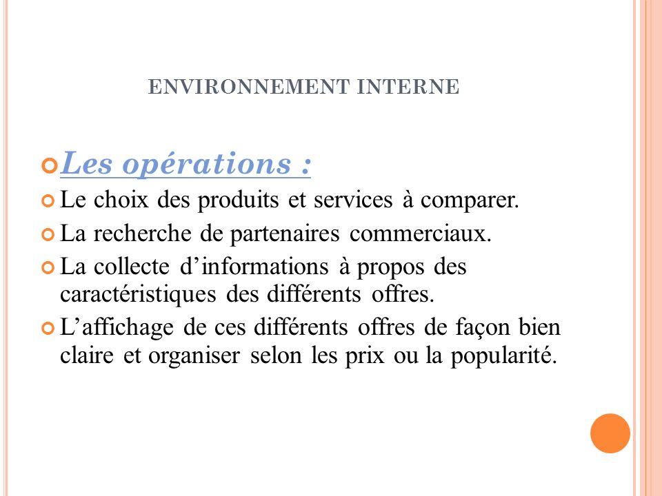 ENVIRONNEMENT INTERNE Les opérations : Le choix des produits et services à comparer. La recherche de partenaires commerciaux. La collecte dinformation