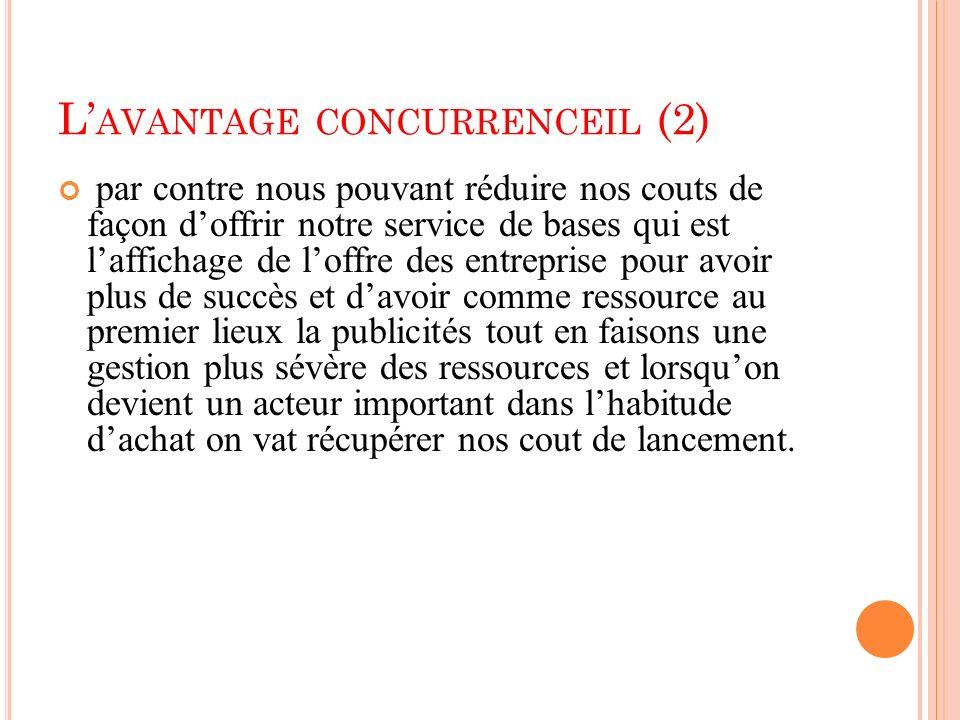 L AVANTAGE CONCURRENCEIL (2) par contre nous pouvant réduire nos couts de façon doffrir notre service de bases qui est laffichage de loffre des entrep