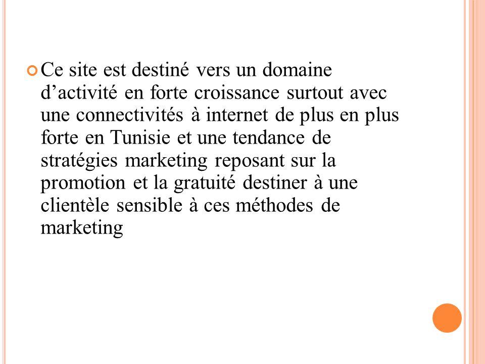 Ce site est destiné vers un domaine dactivité en forte croissance surtout avec une connectivités à internet de plus en plus forte en Tunisie et une te