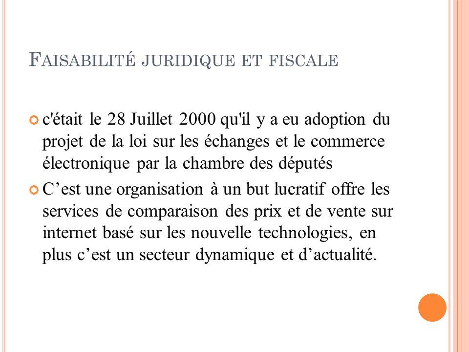 F AISABILITÉ JURIDIQUE ET FISCALE c'était le 28 Juillet 2000 qu'il y a eu adoption du projet de la loi sur les échanges et le commerce électronique pa