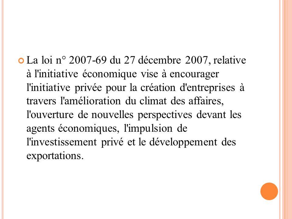 La loi n° 2007-69 du 27 décembre 2007, relative à l'initiative économique vise à encourager l'initiative privée pour la création d'entreprises à trave