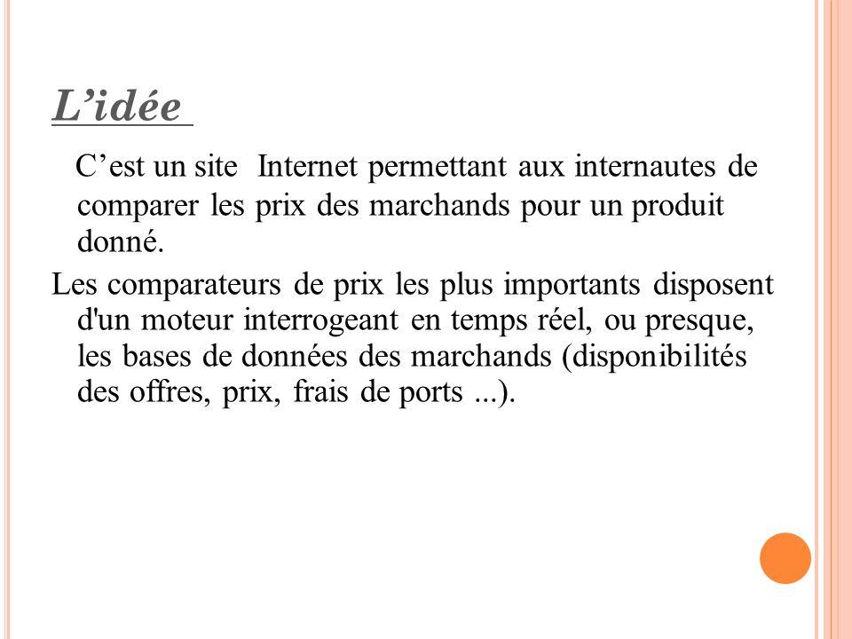 Pour le cas de la Tunisie on a quun seul comparateur de prix Tunisien nommer Ajidoo.com qui est nouvellement créer,malgré que cest un projet qui peut être bien rentable grâce au développement de linternet, et la multiplication de la concurrence entre les commerçants et cest un avantage de plus pour nous.