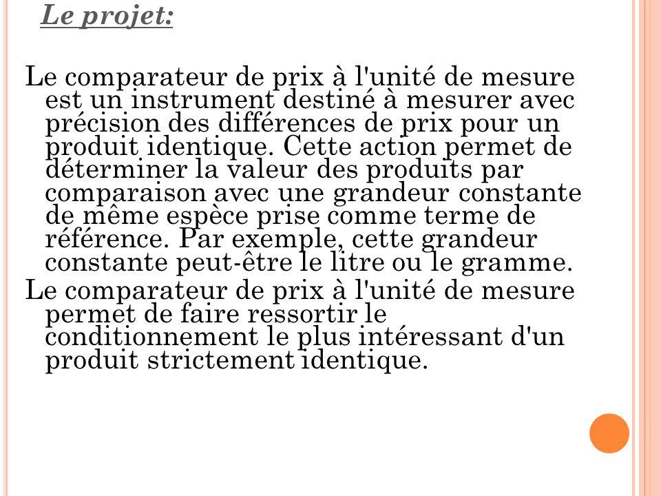 Le projet: Le comparateur de prix à l'unité de mesure est un instrument destiné à mesurer avec précision des différences de prix pour un produit ident
