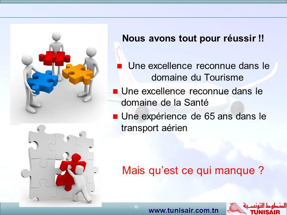 10 www.tunisair.com.tn Nous avons tout pour réussir !! Une excellence reconnue dans le domaine du Tourisme Une excellence reconnue dans le domaine de