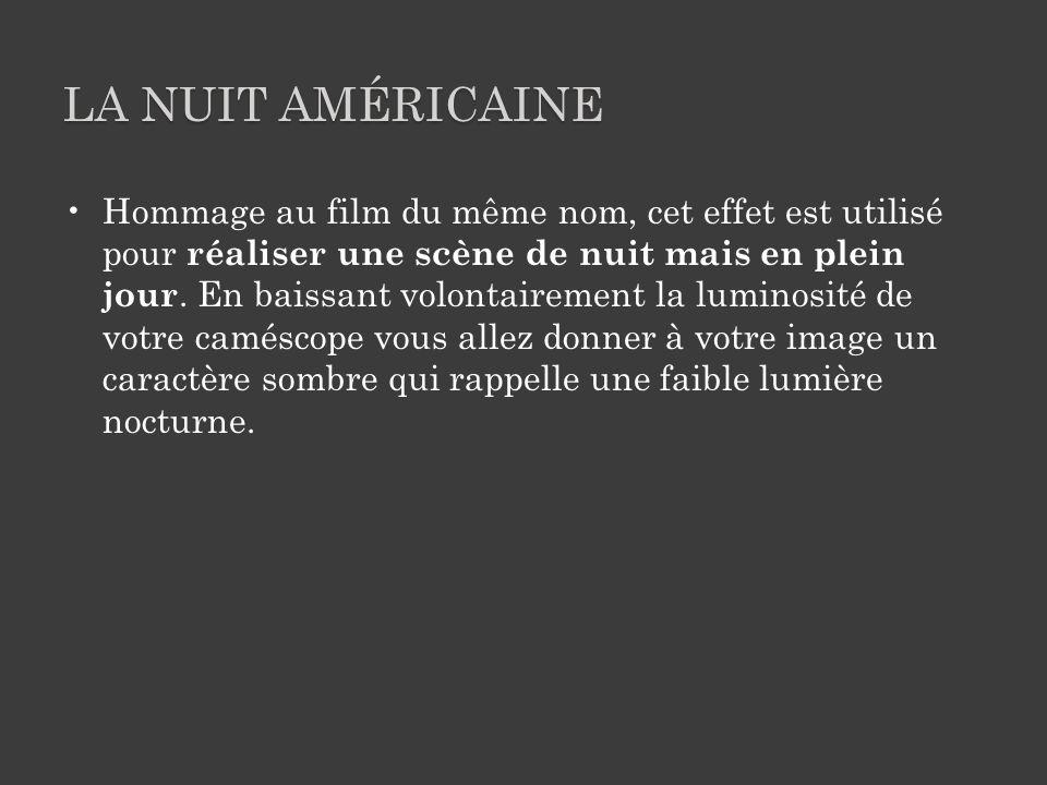 LA NUIT AMÉRICAINE Hommage au film du même nom, cet effet est utilisé pour réaliser une scène de nuit mais en plein jour.