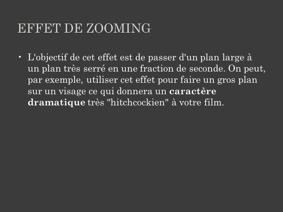 EFFET DE ZOOMING L objectif de cet effet est de passer d un plan large à un plan très serré en une fraction de seconde.