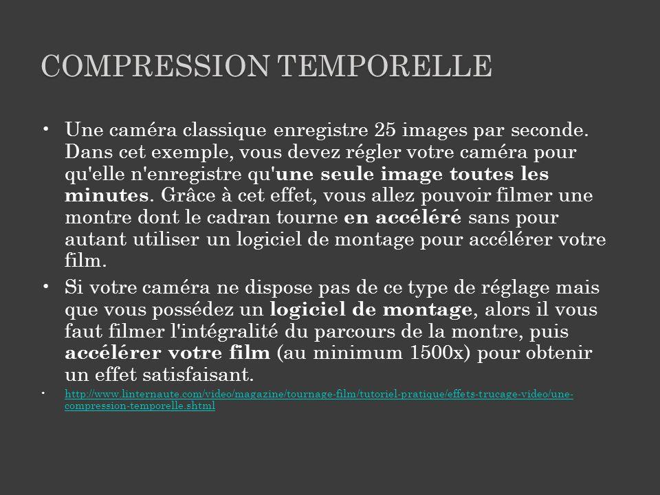 COMPRESSION TEMPORELLE Une caméra classique enregistre 25 images par seconde.