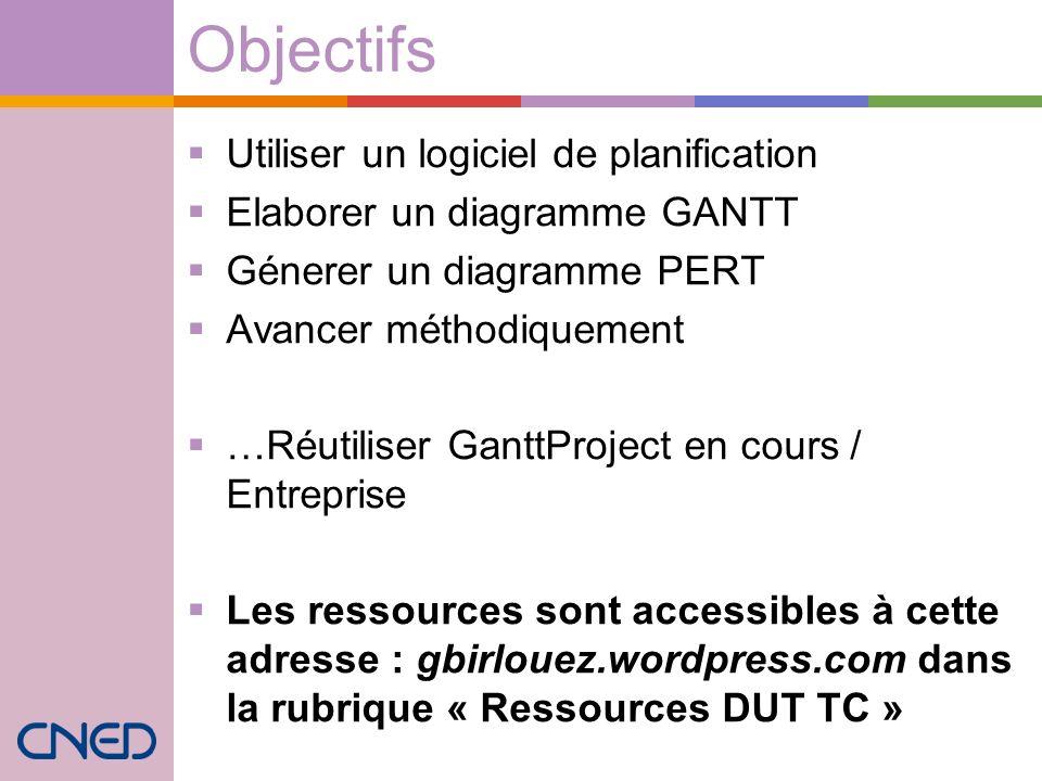Objectifs Utiliser un logiciel de planification Elaborer un diagramme GANTT Génerer un diagramme PERT Avancer méthodiquement …Réutiliser GanttProject