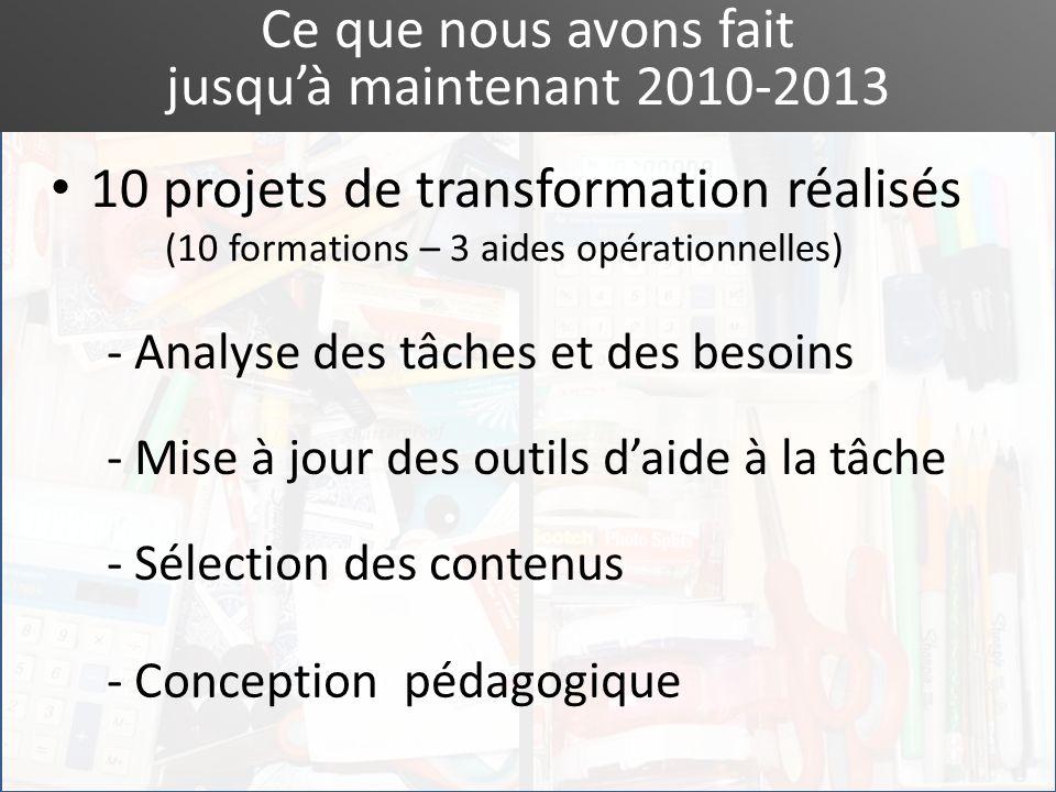 Ce que nous avons fait jusquà maintenant 2010-2013 10 projets de transformation réalisés (10 formations – 3 aides opérationnelles) - Mise à jour des o