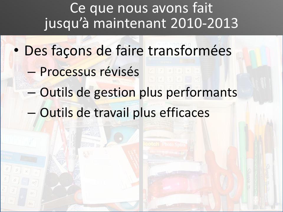 Ce que nous avons fait jusquà maintenant 2010-2013 Des façons de faire transformées – Processus révisés – Outils de gestion plus performants – Outils