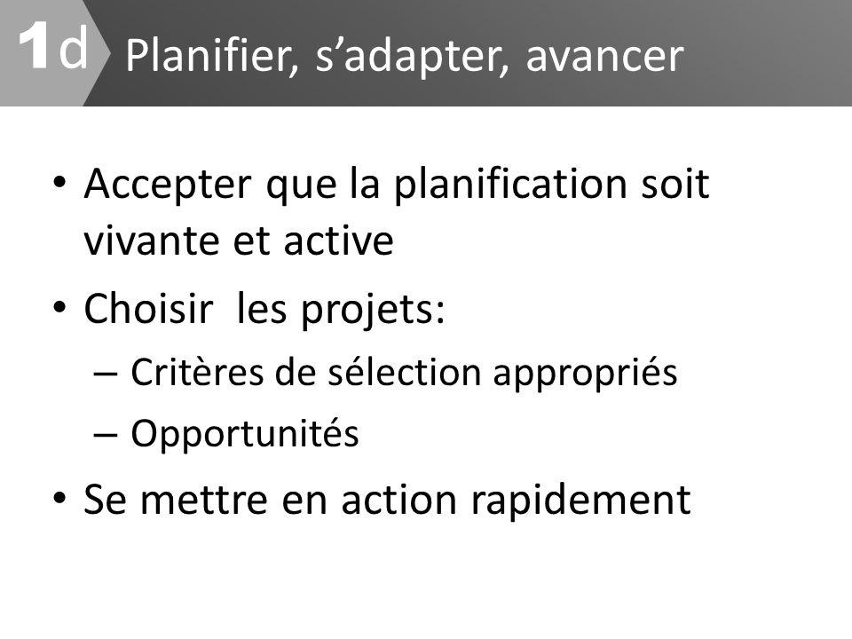 Planifier, sadapter, avancer 1d1d Accepter que la planification soit vivante et active Choisir les projets: – Critères de sélection appropriés – Oppor