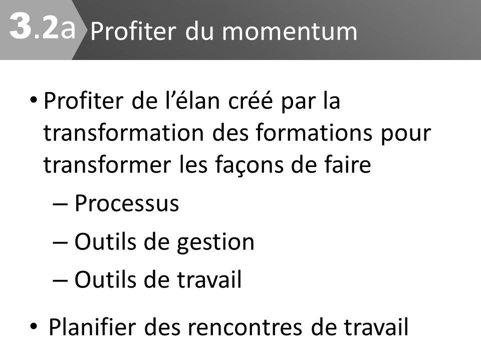 Profiter du momentum Profiter de lélan créé par la transformation des formations pour transformer les façons de faire – Processus – Outils de gestion