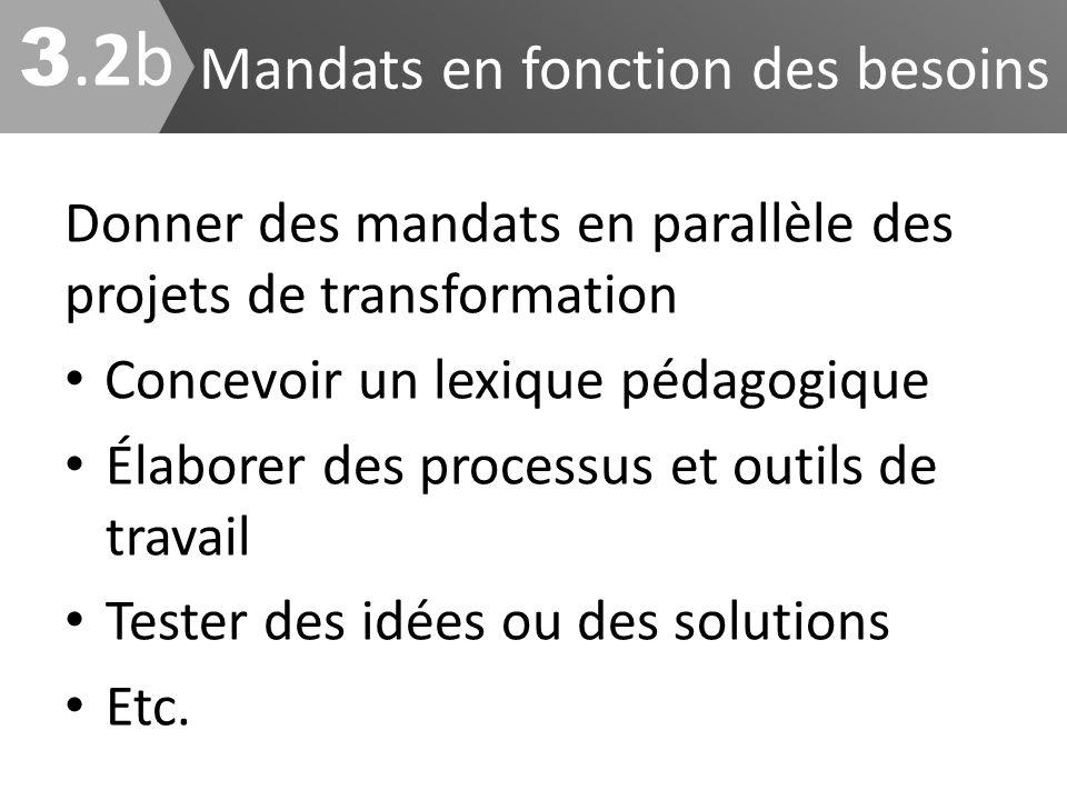 Mandats en fonction des besoins Donner des mandats en parallèle des projets de transformation Concevoir un lexique pédagogique Élaborer des processus
