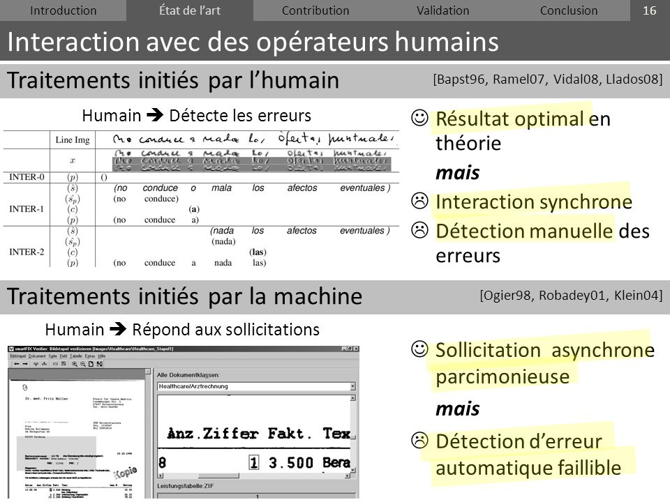 IntroductionÉtat de lartContributionValidationConclusion Traitements initiés par lhumain Traitements initiés par la machine Interaction avec des opéra