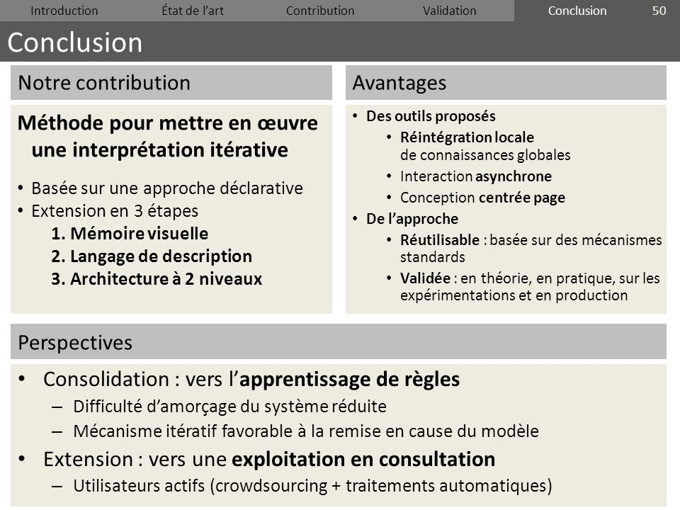 IntroductionÉtat de lartContributionValidationConclusion Perspectives Consolidation : vers lapprentissage de règles – Difficulté damorçage du système