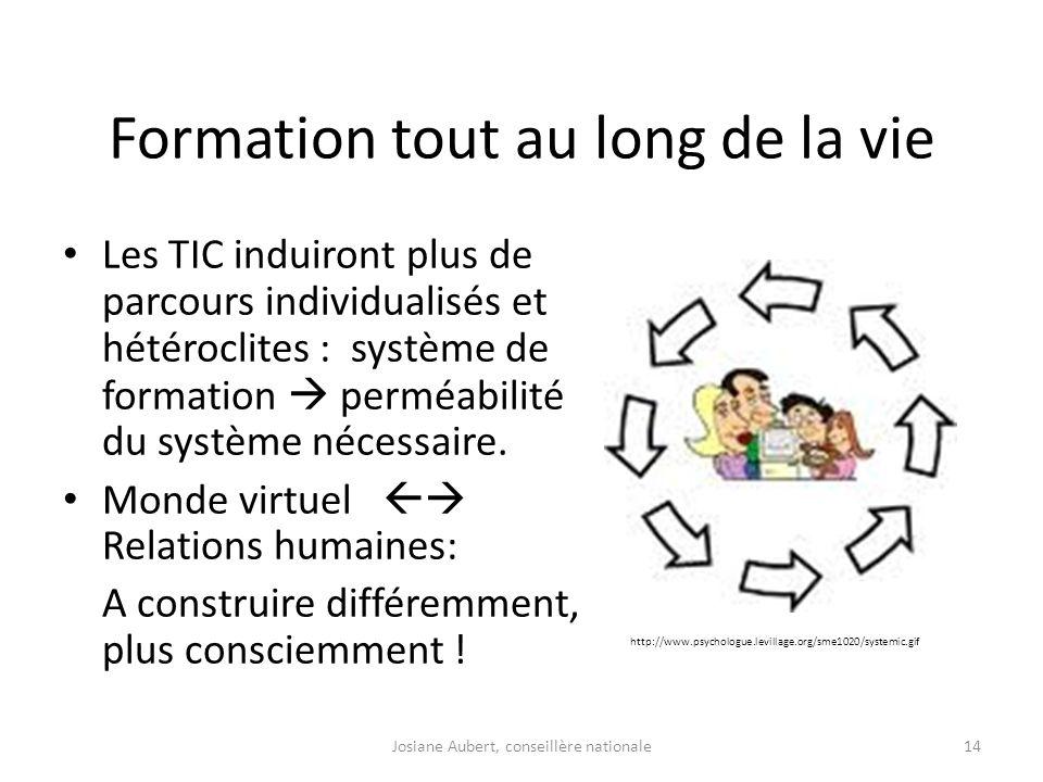 Formation tout au long de la vie Les TIC induiront plus de parcours individualisés et hétéroclites : système de formation perméabilité du système néce