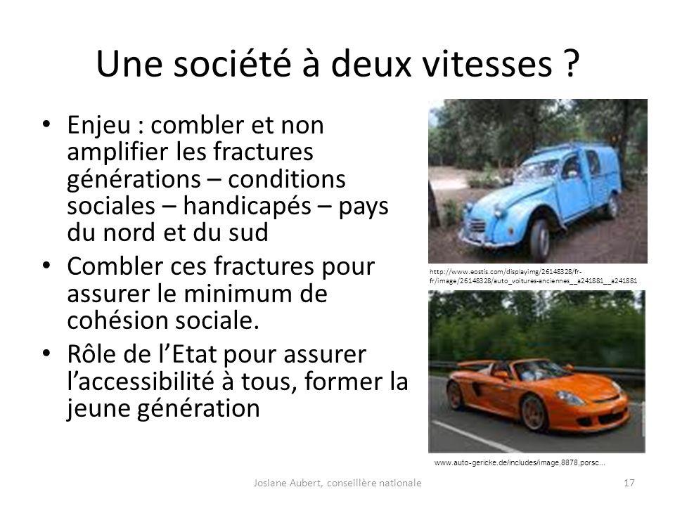 Une société à deux vitesses ? Enjeu : combler et non amplifier les fractures générations – conditions sociales – handicapés – pays du nord et du sud C