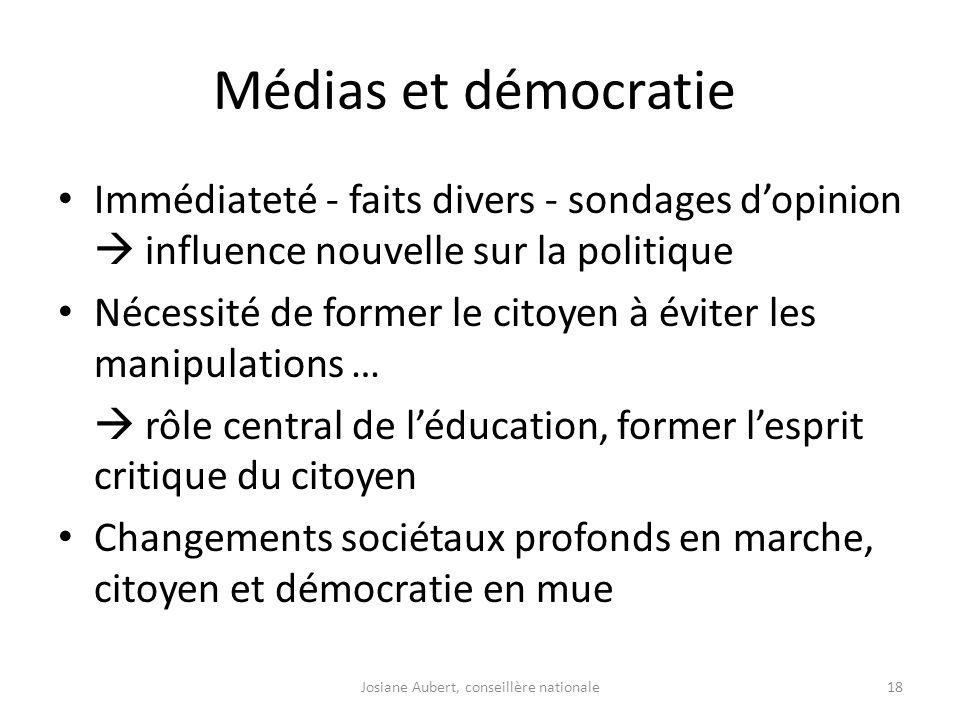 Médias et démocratie Immédiateté - faits divers - sondages dopinion influence nouvelle sur la politique Nécessité de former le citoyen à éviter les ma