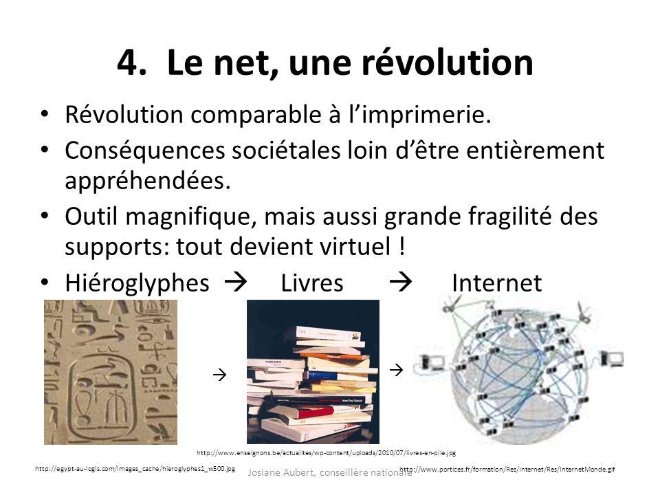 4. Le net, une révolution Révolution comparable à limprimerie. Conséquences sociétales loin dêtre entièrement appréhendées. Outil magnifique, mais aus