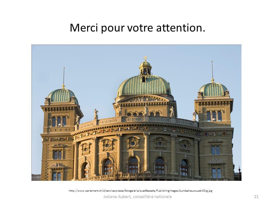 Merci pour votre attention. 21 http://www.parlament.ch/d/service-presse/fotogalerie/suedfassade/PublishingImages/bundeshaus-sued-03-g.jpg Josiane Aube