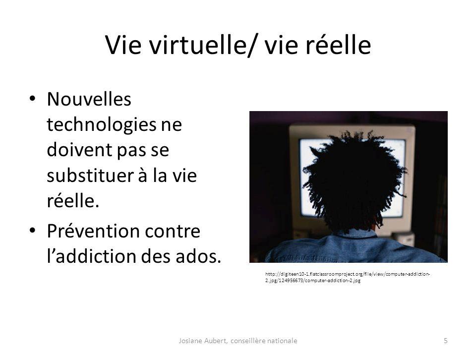 Vie virtuelle/ vie réelle Nouvelles technologies ne doivent pas se substituer à la vie réelle. Prévention contre laddiction des ados. http://digiteen1