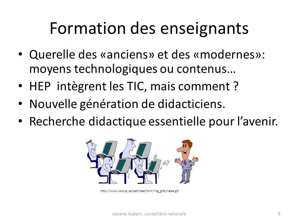 Formation des enseignants Querelle des «anciens» et des «modernes»: moyens technologiques ou contenus… HEP intègrent les TIC, mais comment ? Nouvelle