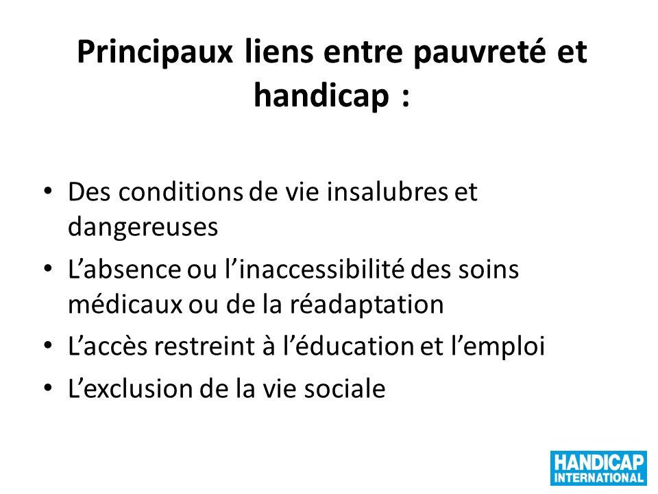 Principaux liens entre pauvreté et handicap : Des conditions de vie insalubres et dangereuses Labsence ou linaccessibilité des soins médicaux ou de la