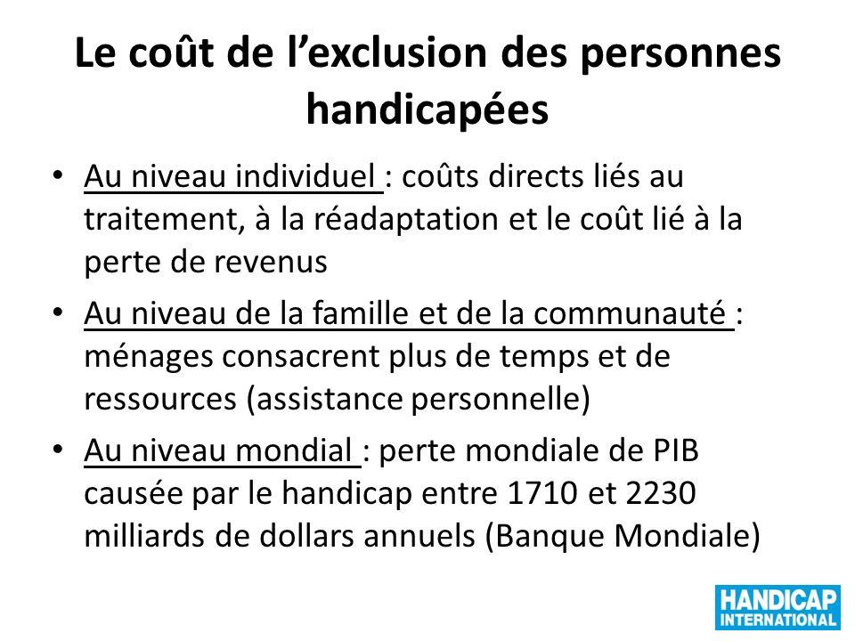 Le coût de lexclusion des personnes handicapées Au niveau individuel : coûts directs liés au traitement, à la réadaptation et le coût lié à la perte d