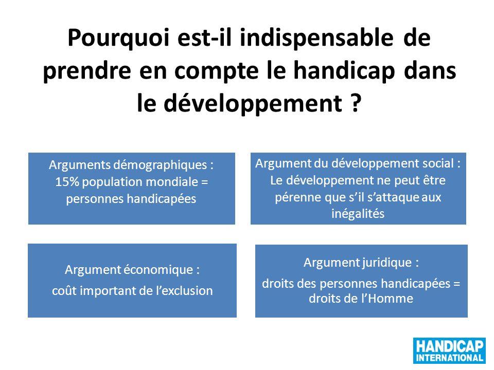 Pourquoi est-il indispensable de prendre en compte le handicap dans le développement ? Arguments démographiques : 15% population mondiale = personnes
