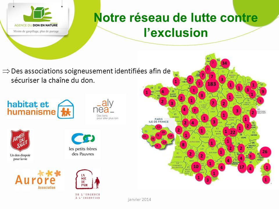 Notre réseau de lutte contre lexclusion Des associations soigneusement identifiées afin de sécuriser la chaîne du don.