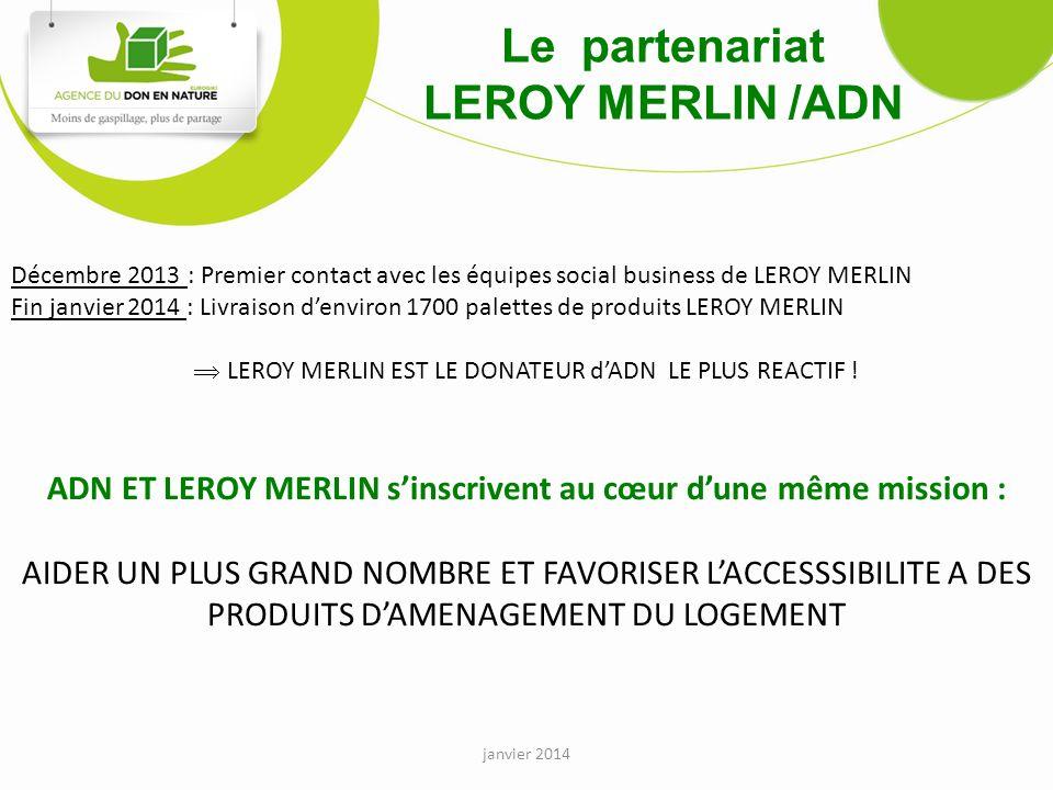 janvier 2014 Le partenariat LEROY MERLIN /ADN Décembre 2013 : Premier contact avec les équipes social business de LEROY MERLIN Fin janvier 2014 : Livraison denviron 1700 palettes de produits LEROY MERLIN LEROY MERLIN EST LE DONATEUR dADN LE PLUS REACTIF .
