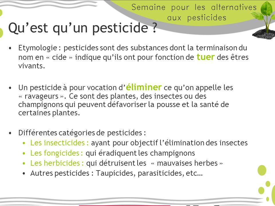 Utilisation des pesticides Environ 90 à 94% sont destinés à lagriculture, le reste se partage équitablement entre les usages amateurs et les usages collectifs (voirie, SNCF…).