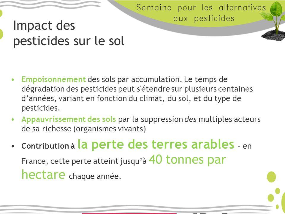 Impact des pesticides sur le sol Empoisonnement des sols par accumulation. Le temps de dégradation des pesticides peut s'étendre sur plusieurs centain
