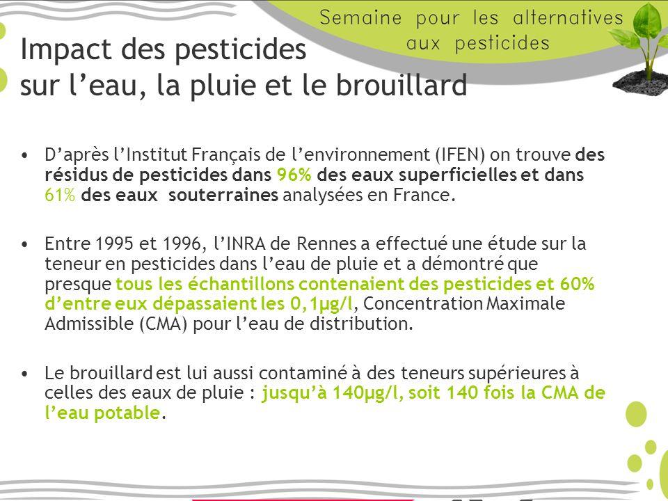 Impact des pesticides sur leau, la pluie et le brouillard Daprès lInstitut Français de lenvironnement (IFEN) on trouve des résidus de pesticides dans