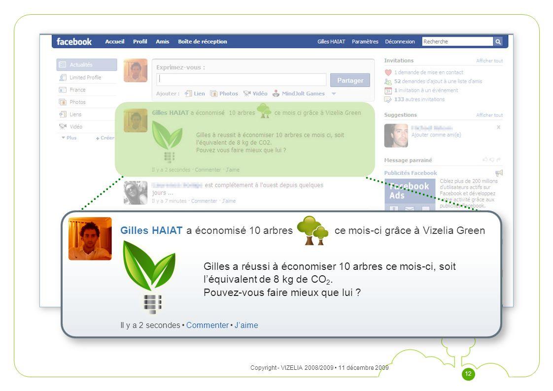 11 décembre 2009Copyright - VIZELIA 2008/2009 12 Gilles HAIAT a économisé 10 arbres ce mois-ci grâce à Vizelia Green Gilles a réussi à économiser 10 a