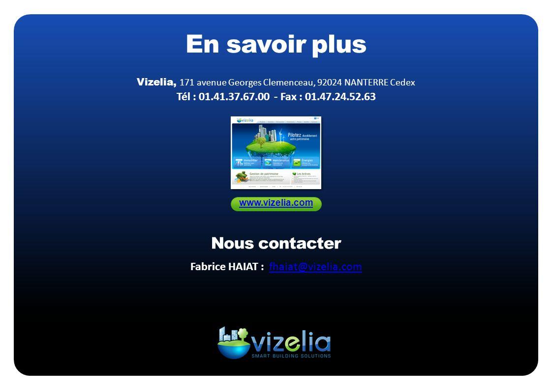 Vizelia, 171 avenue Georges Clemenceau, 92024 NANTERRE Cedex Tél : 01.41.37.67.00 - Fax : 01.47.24.52.63 En savoir plus www.vizelia.com Fabrice HAIAT