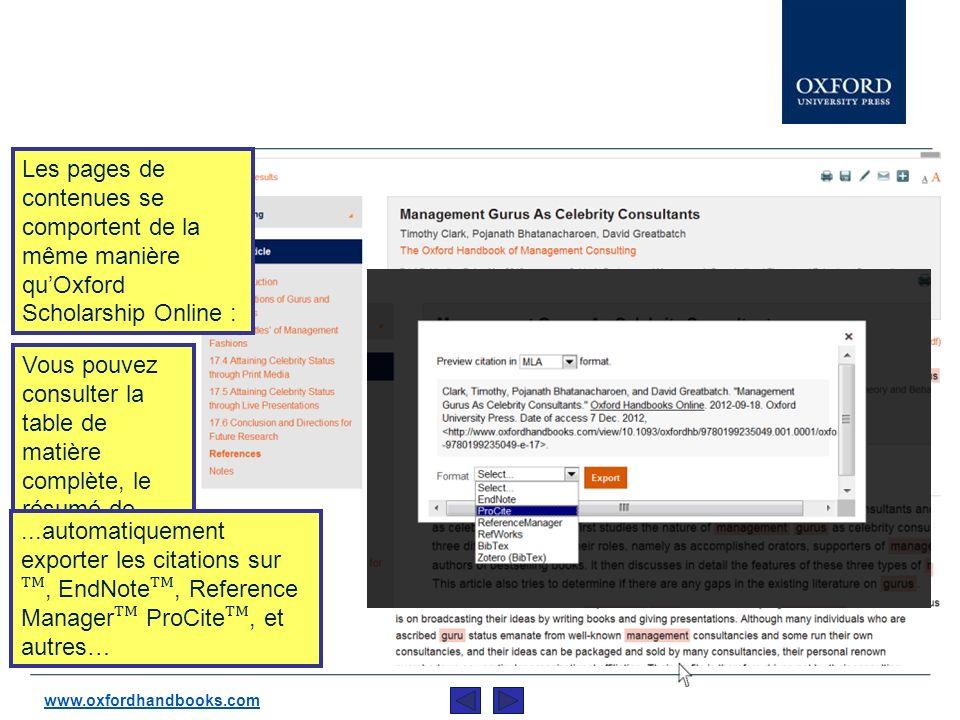 Consultons le premier article de notre liste de résultats www.oxfordhandbooks.com