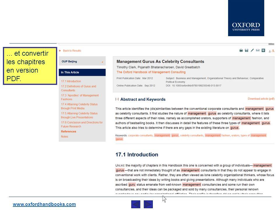 Les pages de contenues se comportent de la même manière quOxford Scholarship Online : Vous pouvez consulter la table de matière complète, le résumé de larticle,...automatiquement exporter les citations sur, EndNote, Reference Manager ProCite, et autres… www.oxfordhandbooks.com