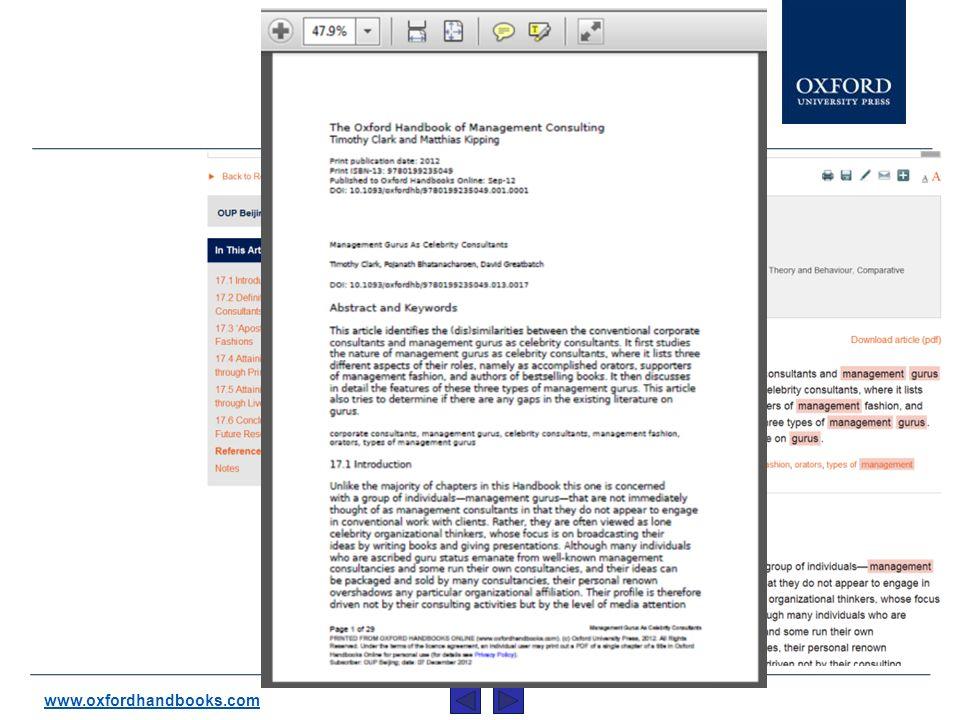 ... et convertir les chapitres en version PDF. www.oxfordhandbooks.com