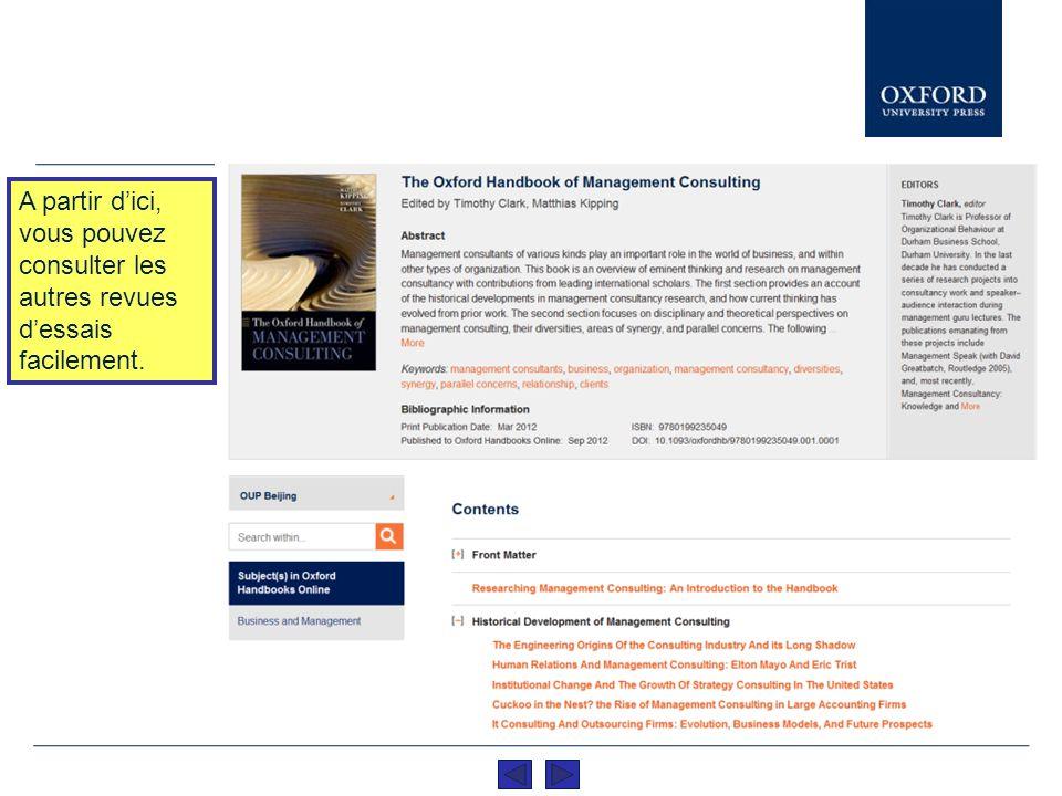 Vous avez la possibilité de distinguer le titre du manuel ainsi que de lire tous les essais du contenu en cliquant sur le titre lui même.